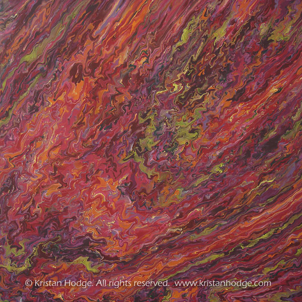 Painting: Comet. Acrylic on canvas. Abstract, colorful, fiery, comet