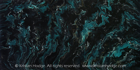 Painting: Distant Storm. Acrylic on canvas. Abstract, black, turquoise, night sky